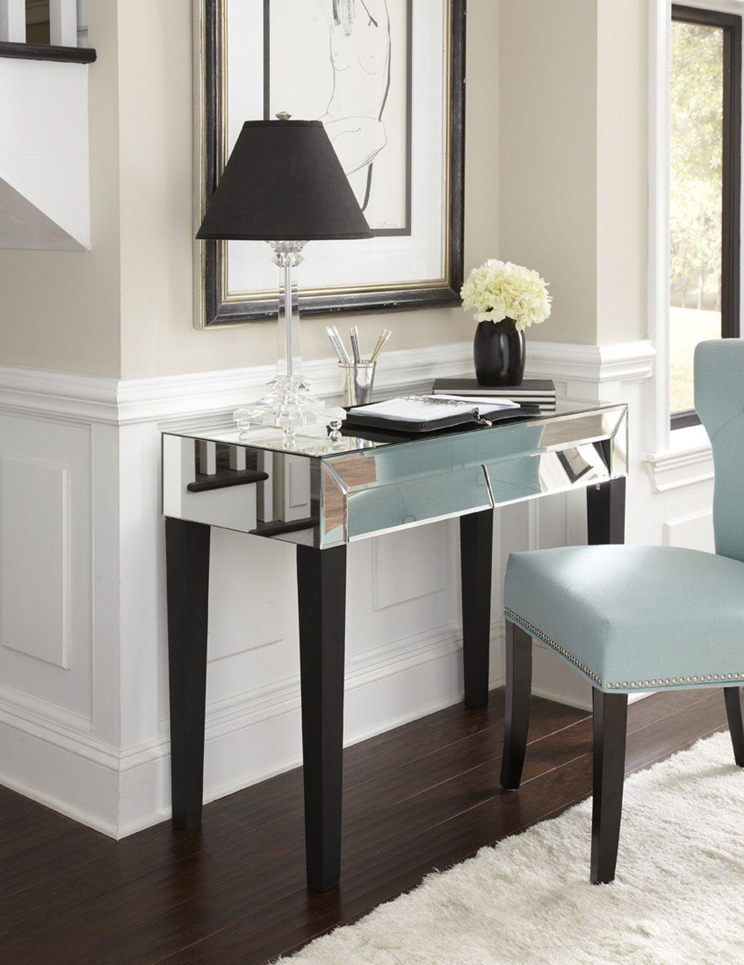 Stella Mirrored Desk Vanity From Glamfurniture 587 00