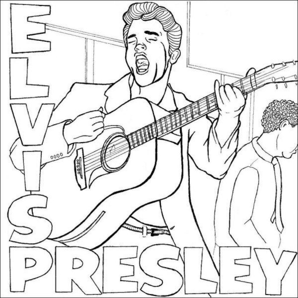 Elvis Presley Coloring Pages Regarding Encourage In Coloring Image