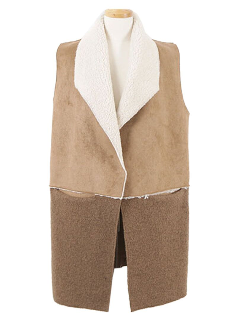 Brown Suede Panel Shearling Lining Waistcoat | abaday