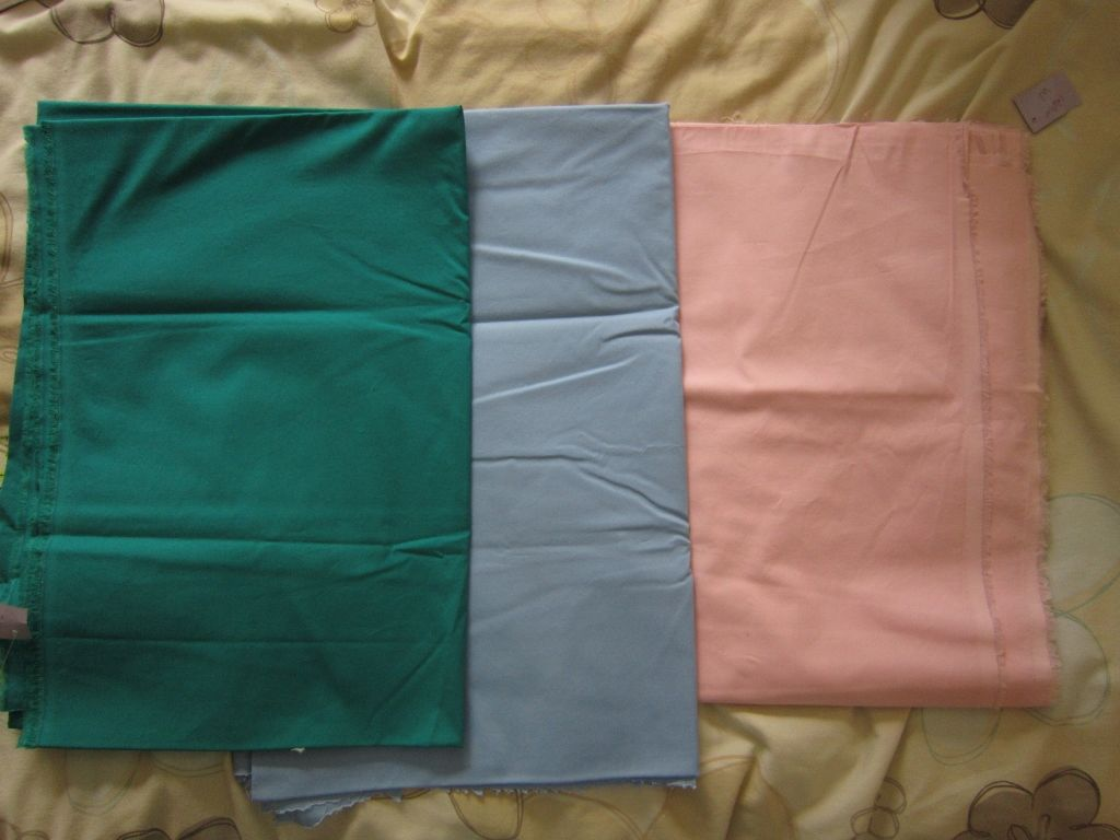 "lightweight cotton/lycra poplin, great for summer shirts. teal, blue and pink, 42"" wide, all around 1.45m, £5 each piece."