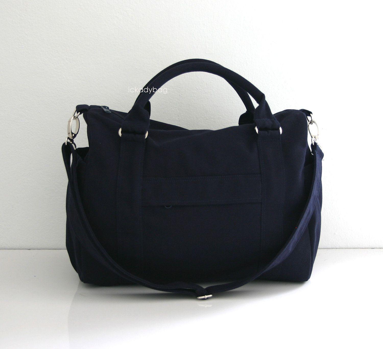 SALE - Mini Duffle bag in Navy blue Canvas, Handbag, Cross body Messenger,  Diaper bag, Gym, Travel, Carry on, Unisex bag Men Women - Duffy