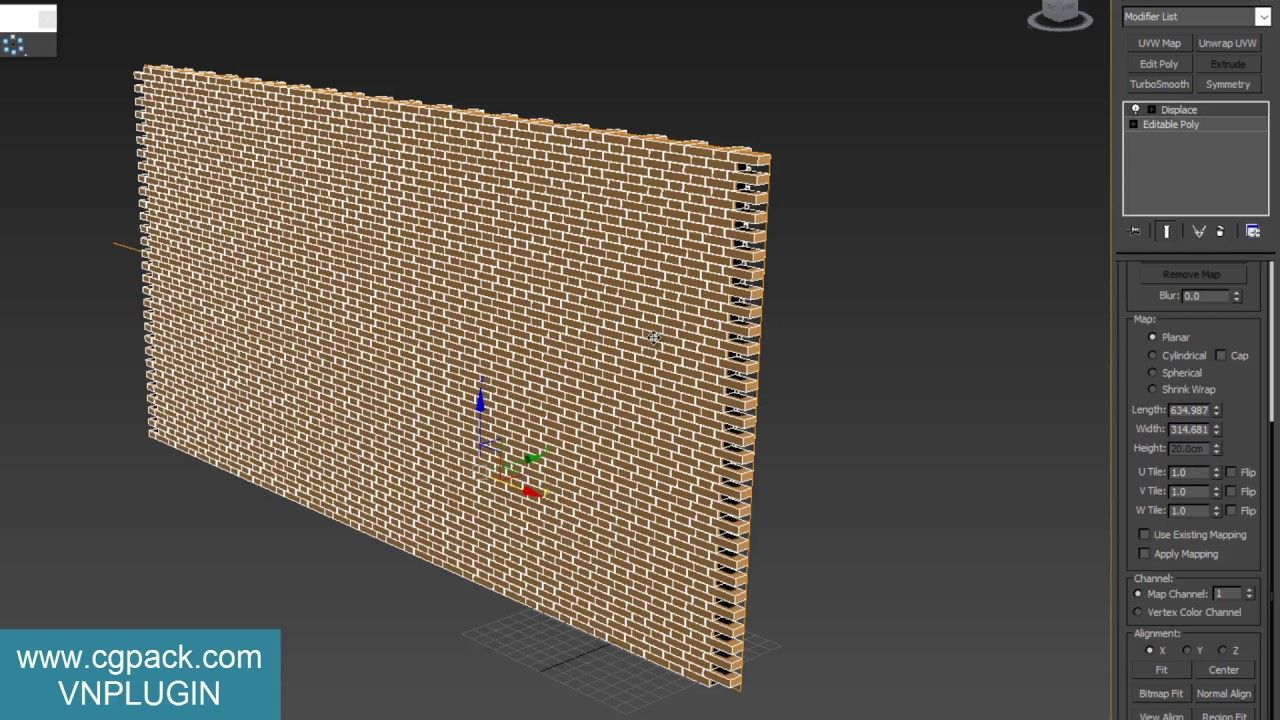 Create Displaced Bricks On Curve Wall Curved Walls Tutorial 3ds Max