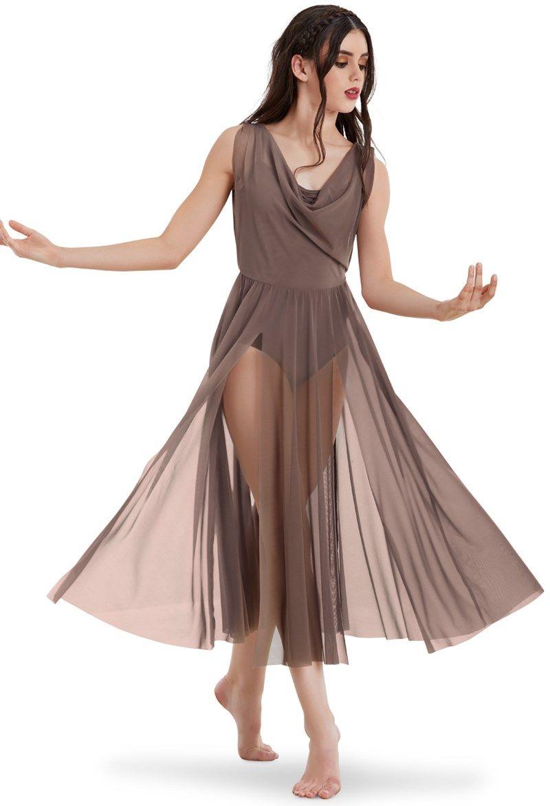 ae4b6f1fe7d2 Double Cowl Mesh Maxi Dress | Dance practice in 2019 | Dance ...