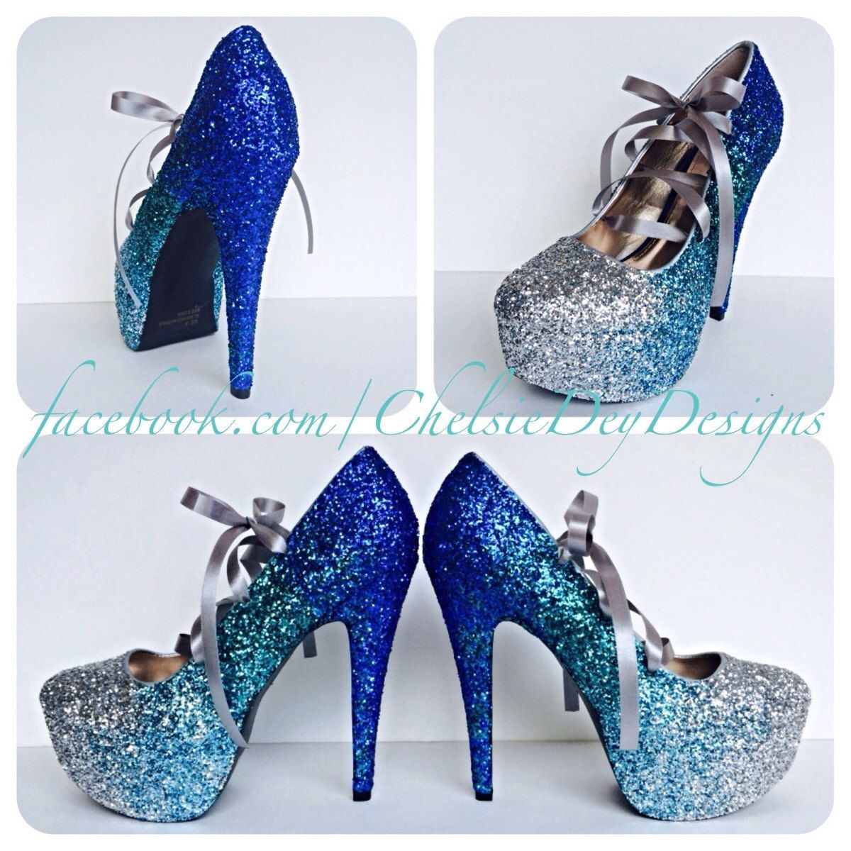 Faded Blues Lace Up Ribbon Glitter High Heels Pinned By Pin4etsy