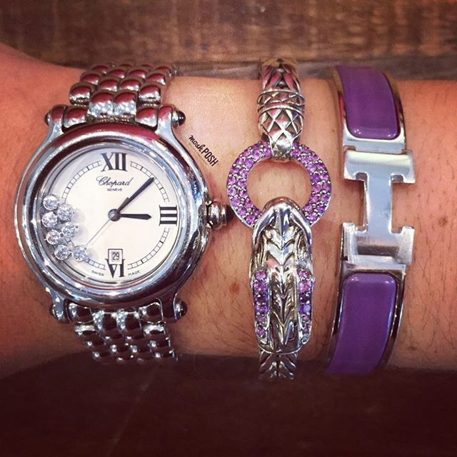 Today's Arm Candy! Shop the Chopard watch & John Hardy bracelet on www.mymoshposh.com! Call us at 813-258-8800 if you would like to purchase the Hermes H bracelet before it goes online! #chopard #chopardwatches #johnhardy #johnhardyjewelry #hermes #hermesbracelet #fashion #trendy #luxury #armcandy #inlove #mymoshposh #moshposhfinds #designerjewelry #designerconsignment