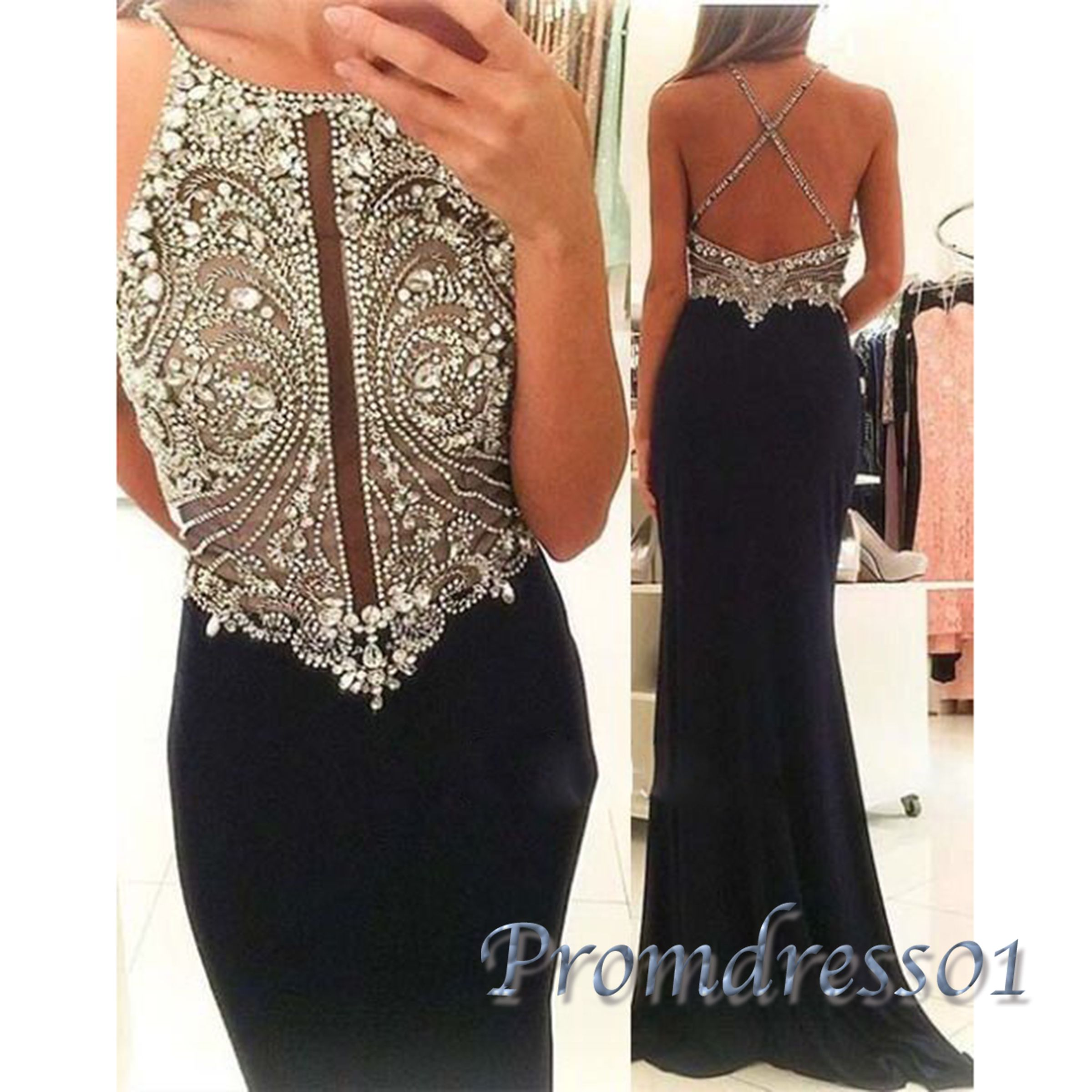 Backless prom dress long dress sequins top black chiffon dress for