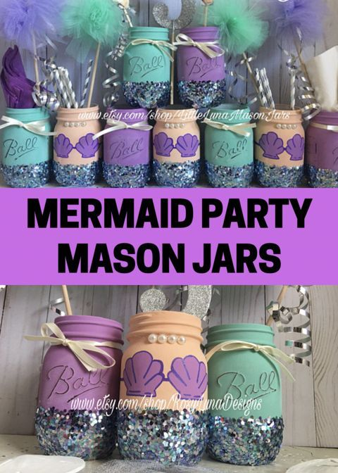 Mermaid mason jars in purple and teal colors perfect for a little ...