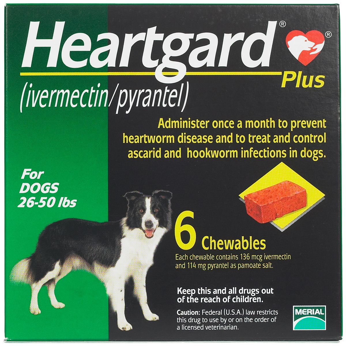 Heartgard Plus for Dogs Brown 51100 lbs 6 ct Dogs, Pet