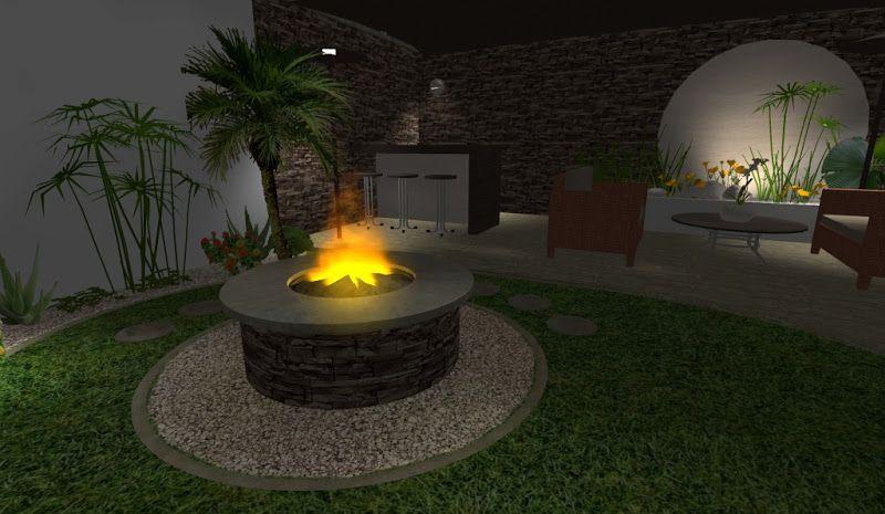 Modelo de asador chimenea abierta para jardin y exteriores - Jardines exteriores de casas modernas ...