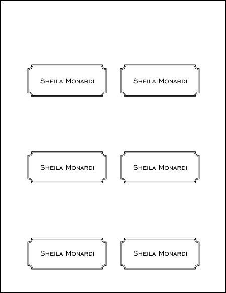 Wedding Name Placecards  W    Template Place Card