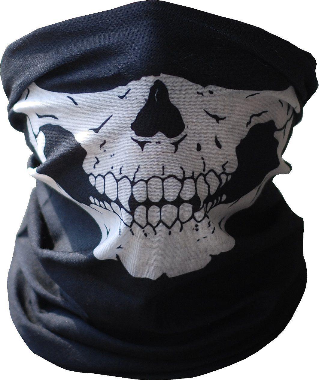 Amazon.com: UrbanSource Black Seamless Skull Face Tube Mask BUFF ...