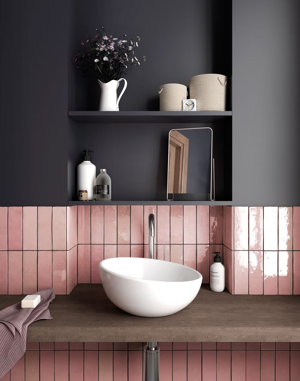 Ac088sub Rose Mallow Hand Made Look Subway Tile Trendy Bathroom