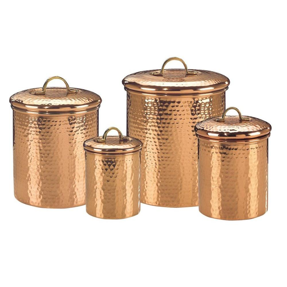 Old Dutch Decor Copper Hammered Canister Set 4 Piece 843 The Home Depot Kitchen Canister Sets Copper Canisters Copper Kitchen