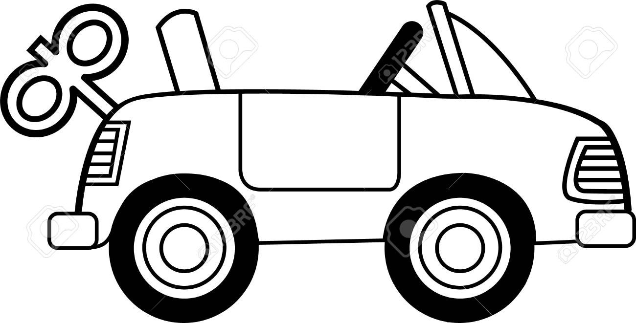Black And White Illustration Of A Wind Up Toy Car Affiliate Illustration White Black Car Clipart Black And White Black N White Images Cartoon Toys