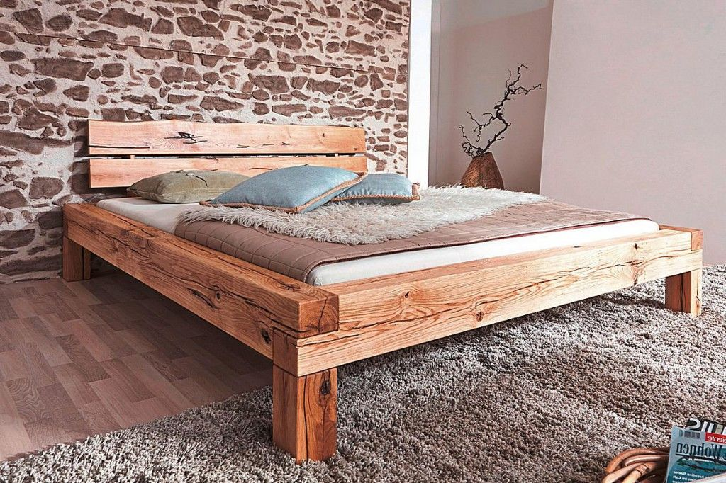 Balkenbett 160x200 Wildeiche Massiv Rustikal Geolt Bett
