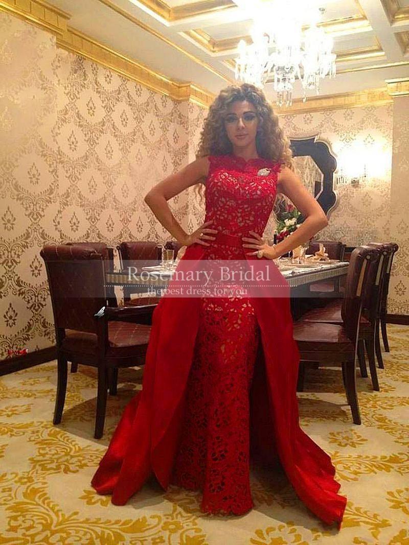 O neck sleevless sheath long lace dress with detachable train