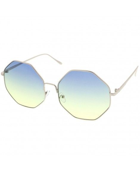 c7f49d3030 Oversize Metal Frame Slim Temple Colored Lens Hexagon Sunglasses ...