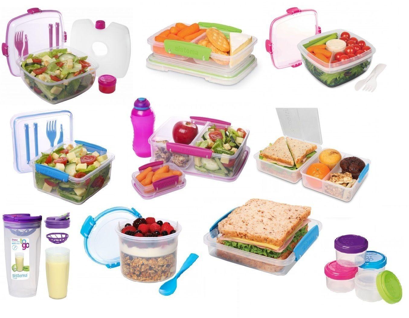 Sistema Lunch Salad Boxes Cubes Quaddies Bottles Klip It To Go