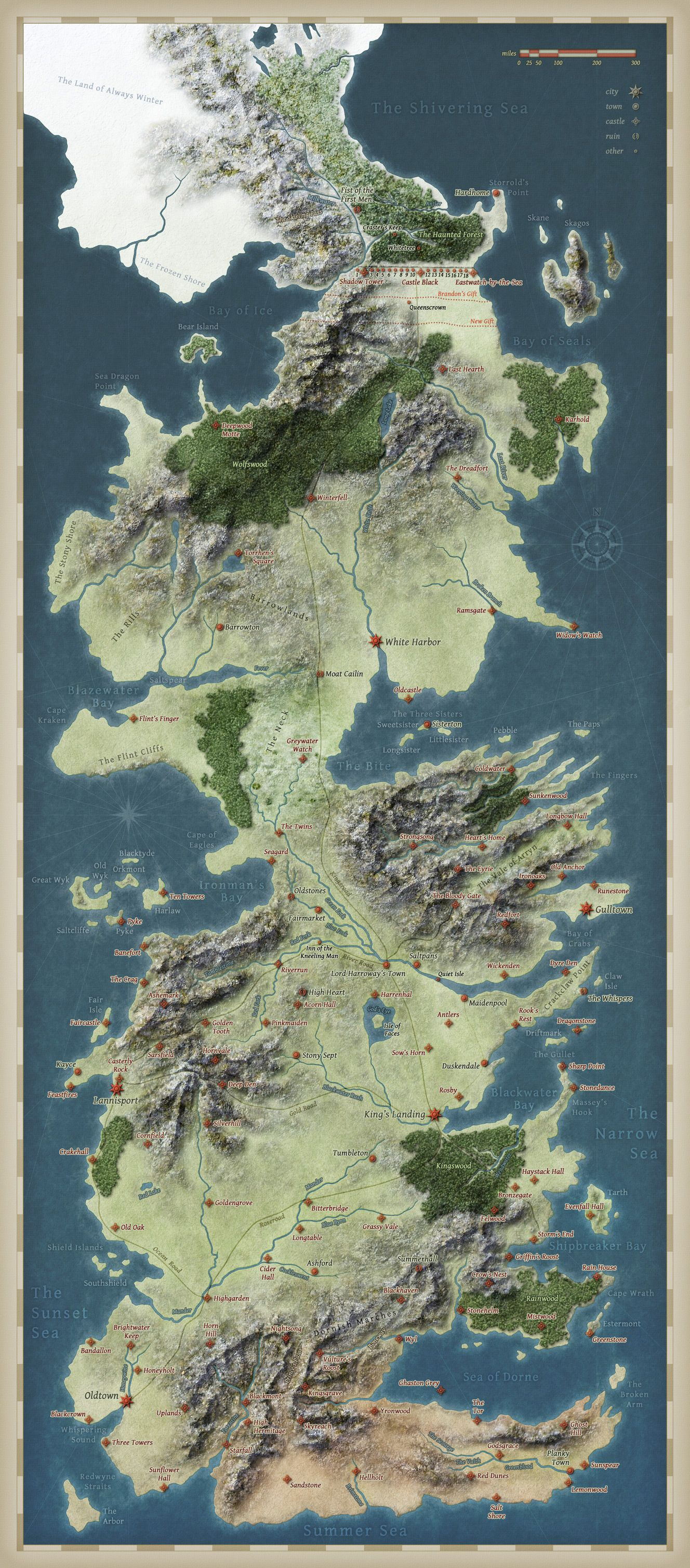 map of westeros from george r martins epic fantasy series a song of ice and fire and the hbo show game of thrones