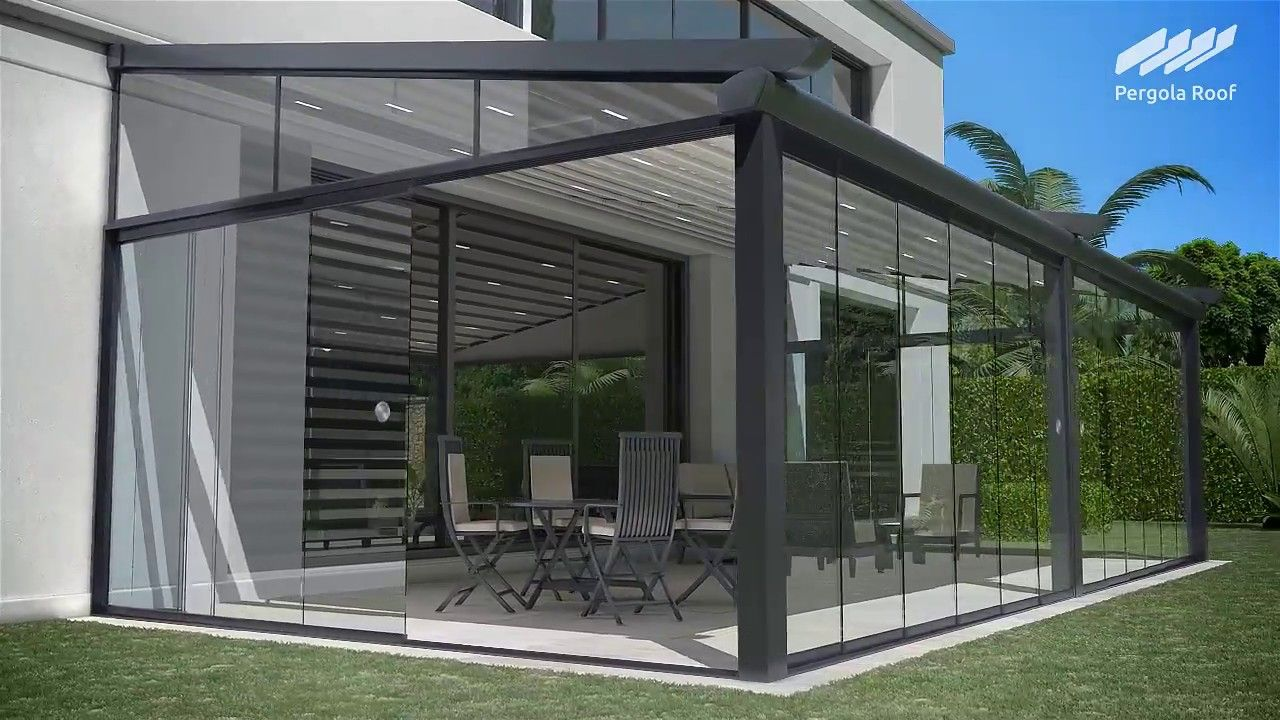 Pergola Roof and Sliding Glass Doors with Motorized Screen ...