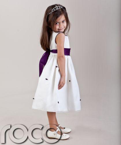 9d93253ab96 Details about GIRLS IVORY CADBURYS PURPLE FLOWER GIRL DRESS 18M ...