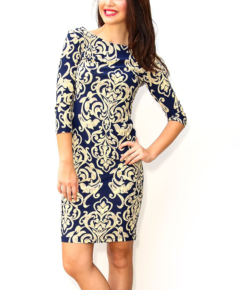 Navy u ivory damask bodycon dress bodycon dress and products