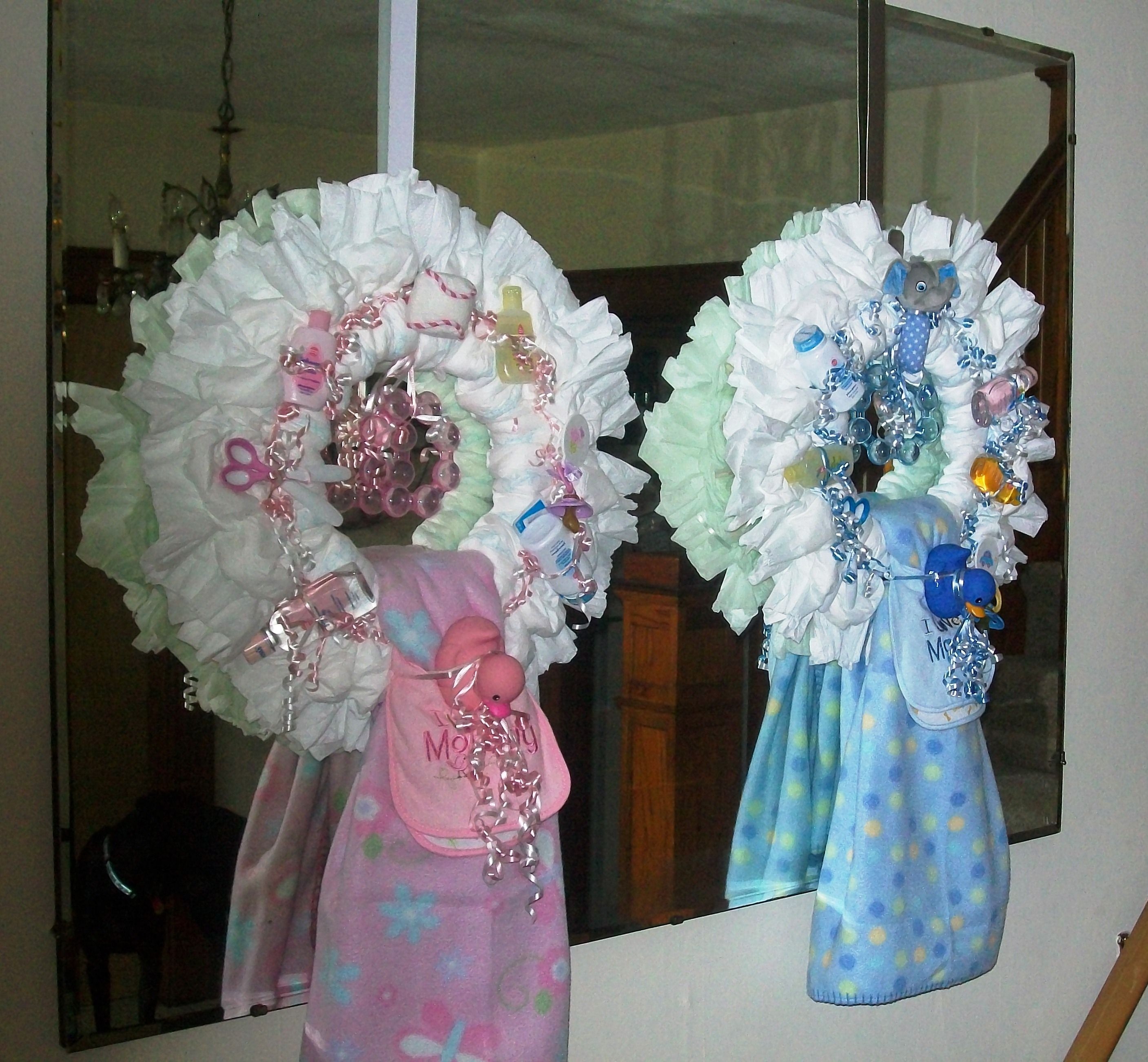 Baby Shower Wreath Instructions: Twins! Baby Girl And Boy Diaper Wreaths