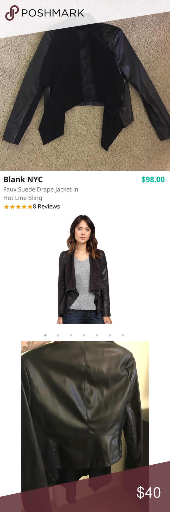 Blank NYC Faux Leather and Suede Jacket Size M Blank NYC Vegan Leather and Suede drape Jacket Size Medium. Soft silky lining. Super cute and fitting. Excellent condition! Blank NYC Jackets & Coats Blazers