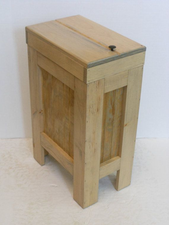 Wooden Wastebasket Wood Wooden Kitchen Garbage Can Trash Bin Wastebasket Weathered Oak
