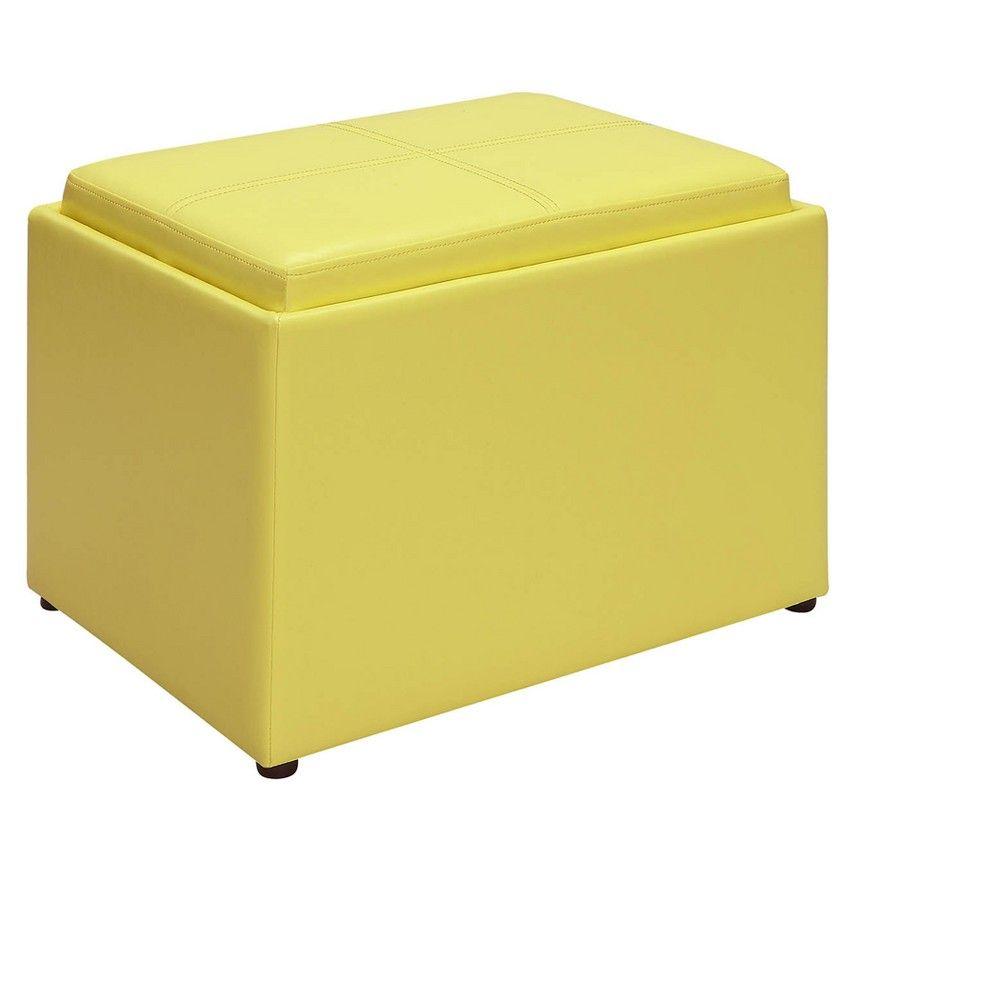 Accent Storage Ottoman Yellow Johar Furniture Storage