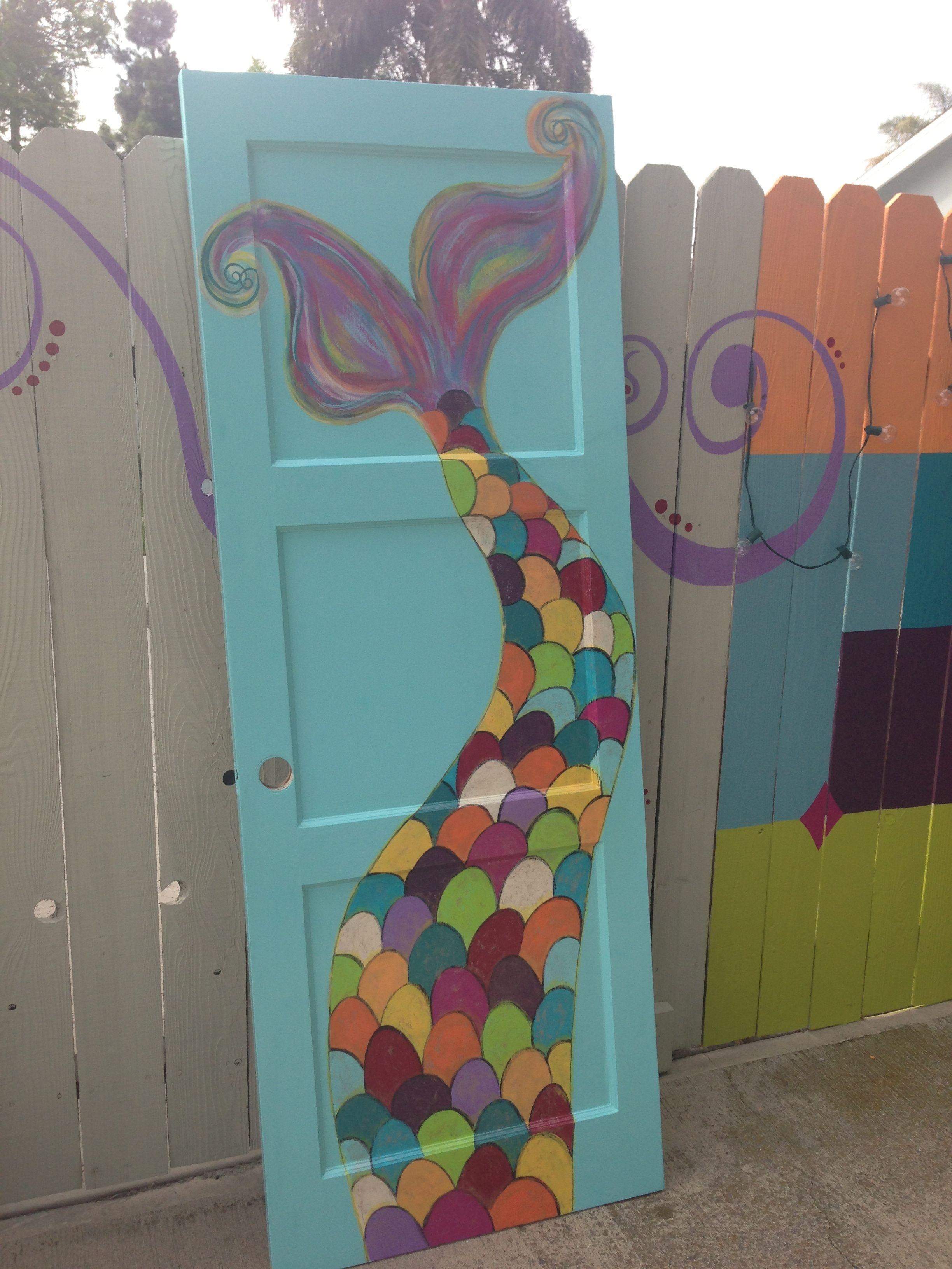 Colorful Hand Painted Mermaid Tail Bathroom Door