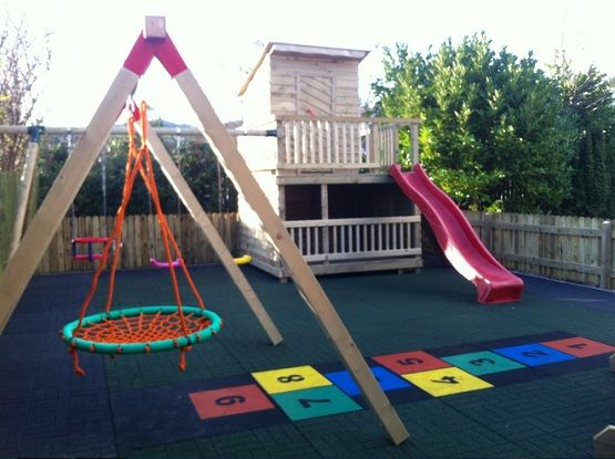 Rubber Playground Mats In A Private Garden Flooring Ideas Floor - Spongy outdoor flooring