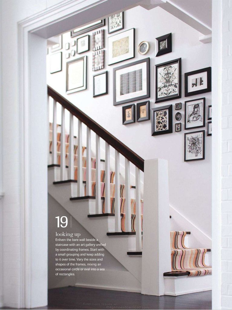 Wall Decor For Stairs : Classic striped runner up stairs stairways