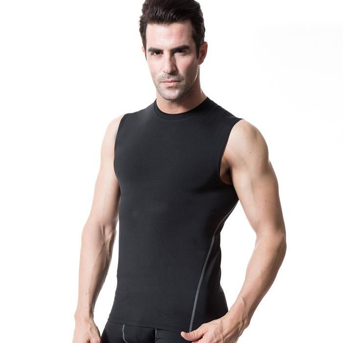 9a60e1870 Men's Sleeveless T-shirts Compression Base Layer Tops wear Tight Fitting  Vest PRO fitness bodybuilding brand Clothes