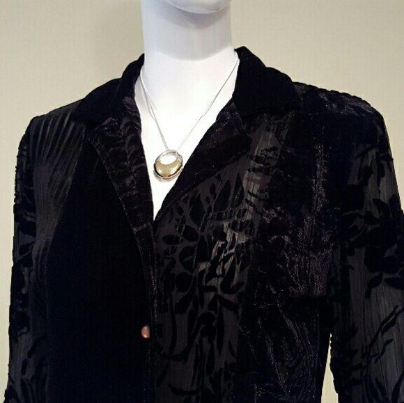 Black Velvet Blouse Graceful black velvet blouse. Asymmetrical pattern design. 42%nylon, 42%rayon, 16%silk. Very good condition. Software by Mark Singer Tops Blouses