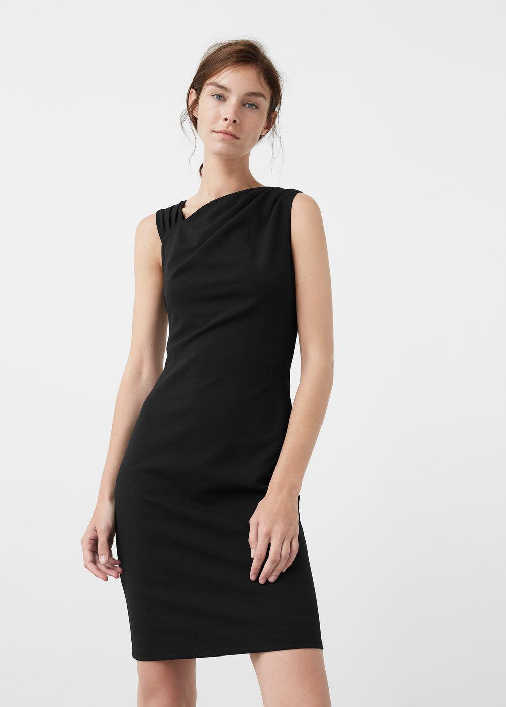 Vestido cuello drapeado - Vestidos de Mujer  27f2ea8084ea