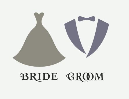 Bride and Groom with Dress and Tux SVG file by