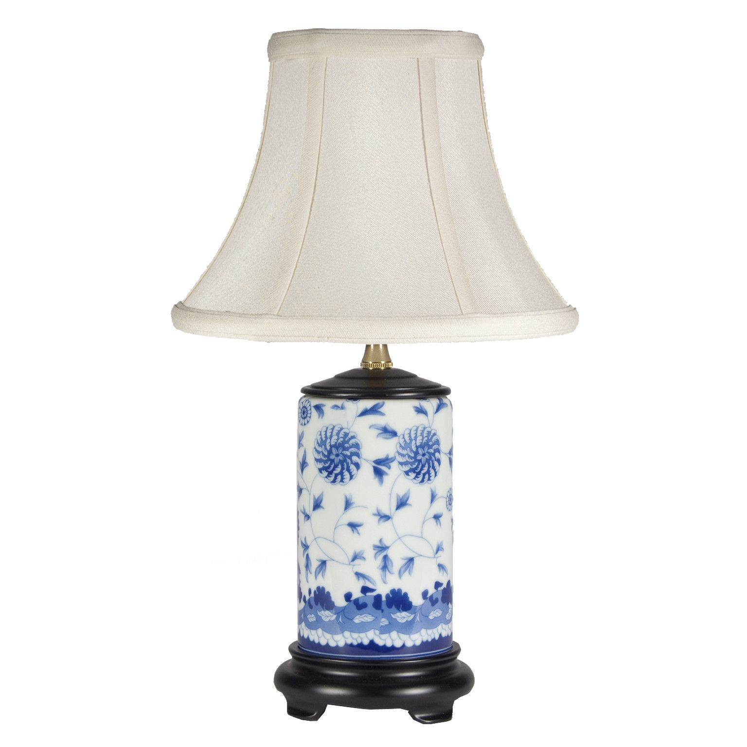 Small Traditional Blue White Porcelain Lamp