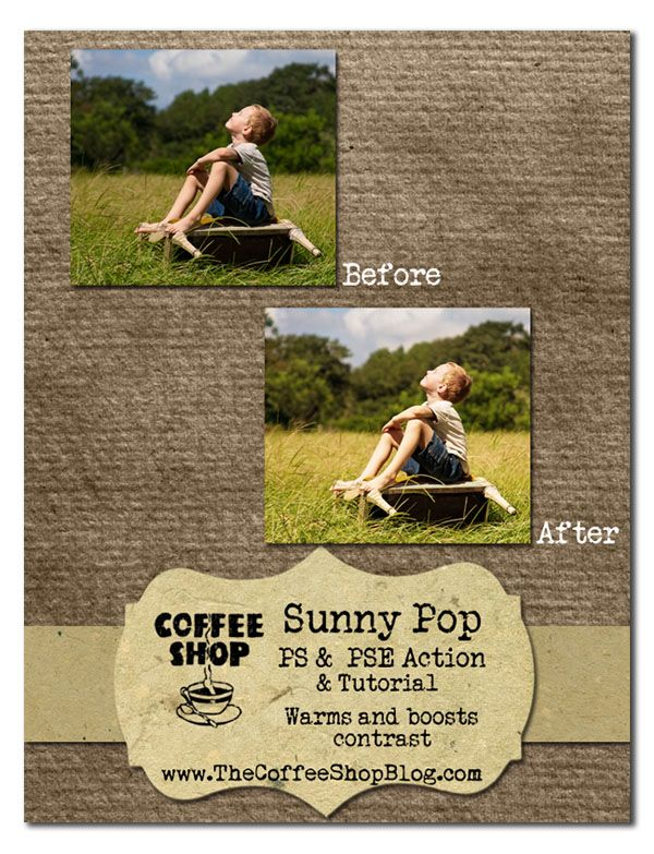 CoffeeShop Sunny Pop is my newest action and UnWrapped tutorial. There are so many ways  to add warmth and a contrast boost to images, bu...