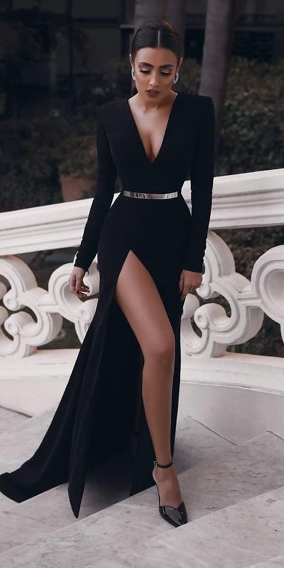 Photo of black long sleeve prom dresses,elegant mermaid sweep train evening dresses,sexy v-neck formal dresses.10