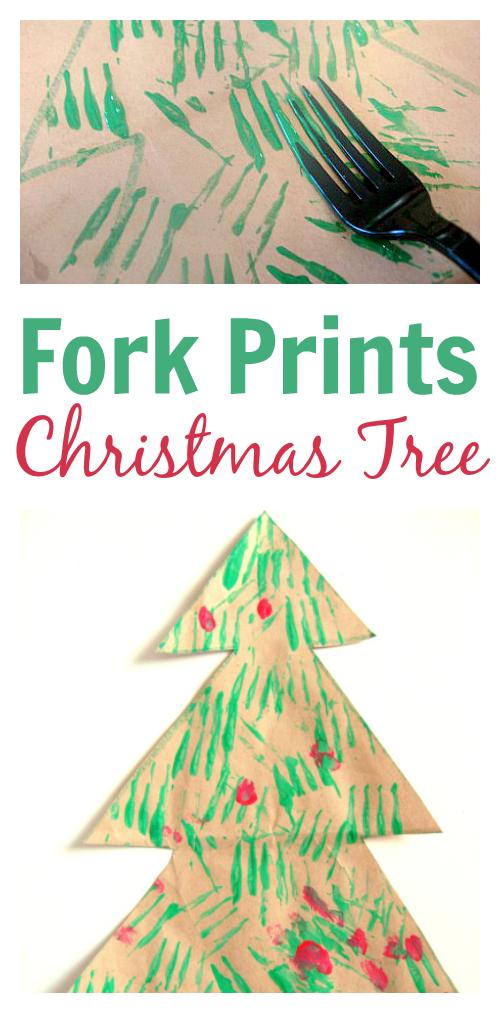 Fork Printed Christmas Tree Craft Christmas Tree Crafts Christmas Crafts Preschool Christmas