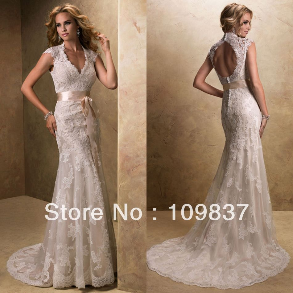 Country style lace wedding dress  Elegant Queen Ann Neckline Cap Sleeves Rich Lace Appliqued Floor