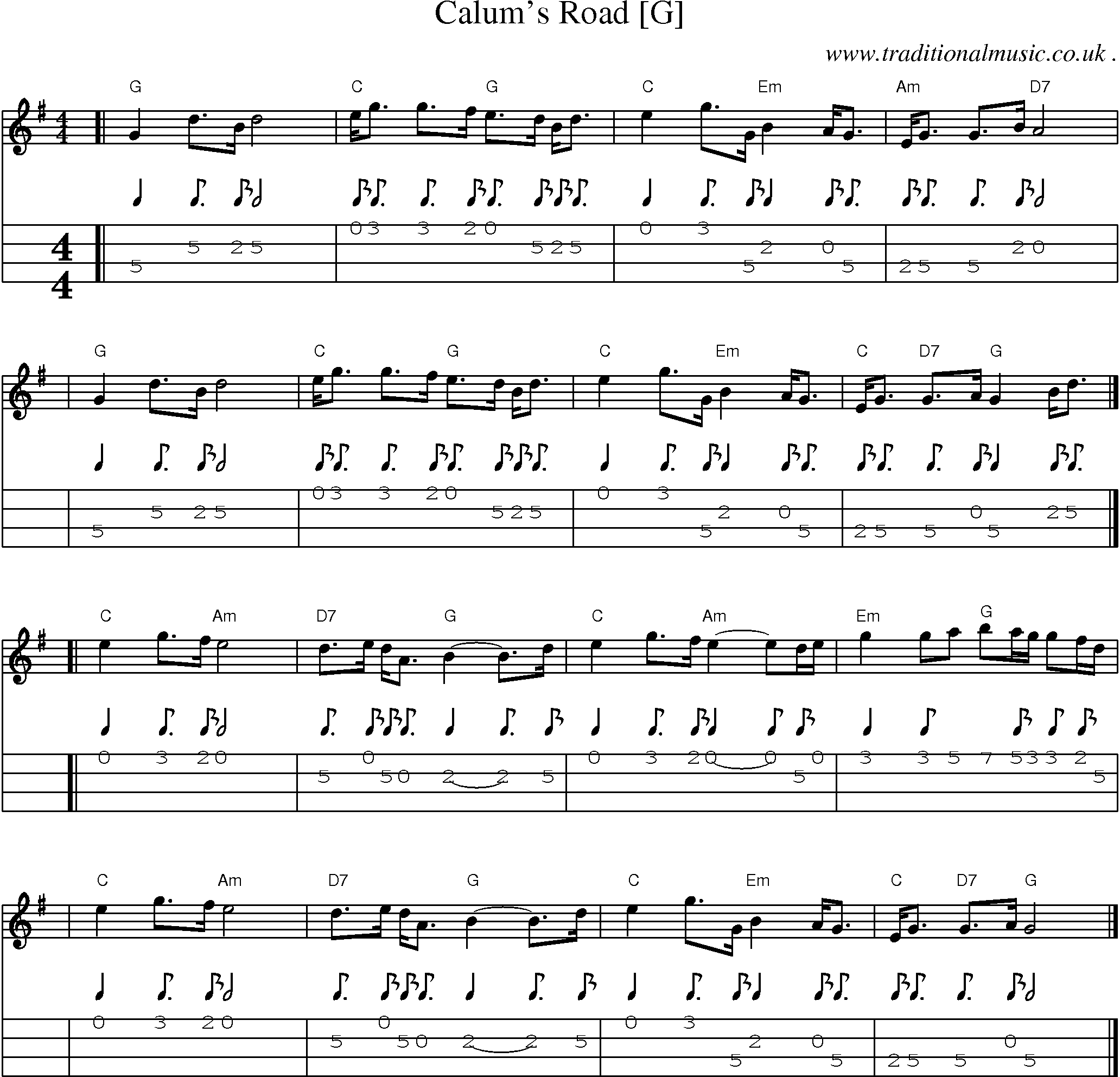 Sheet Music Score Chords And Mandolin Tabs For Calums Road G