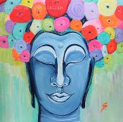 BUDDHA WITH FLOWERS - ACRYLIC PAINTING