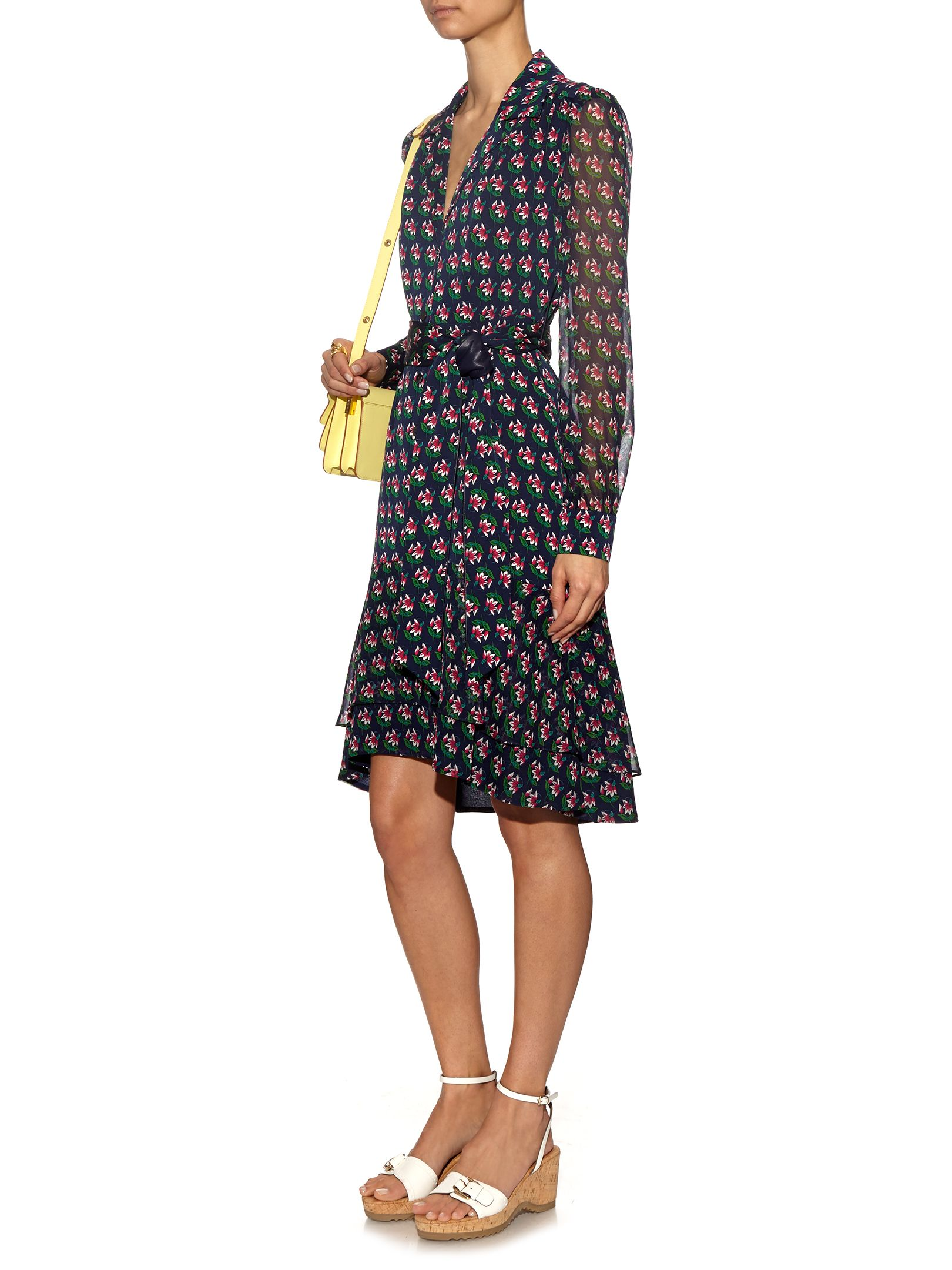 c68c6b3339014e DVF Catherine Two Silk Shirt Dress In Zen Floral Midnight
