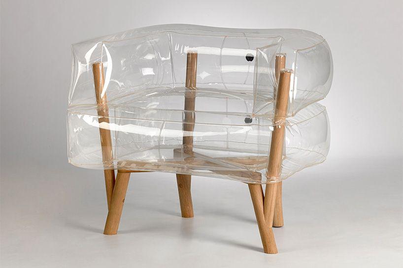 tehila guy inflates anda armchair of translucent a