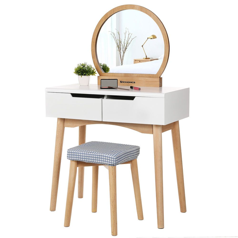 Pleasant Songmics Makeup Dressing Table With Round Mirror Light Bralicious Painted Fabric Chair Ideas Braliciousco