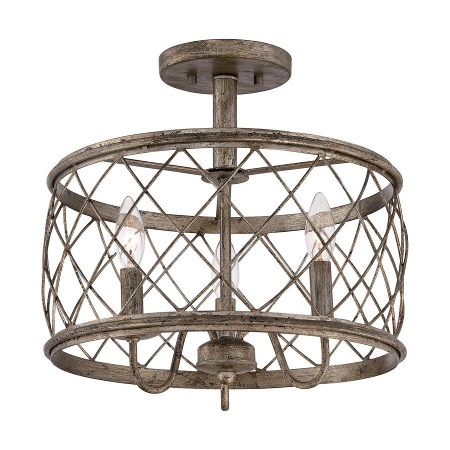 Quoizel Dury 15-In W Century Silver Leaf Metal Semi-Flush Mount ...