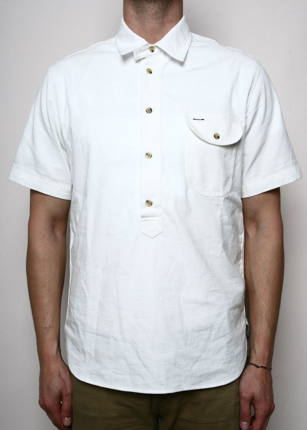 9a84a2542d4 Rogue Territory Popover Japanese White Chambray Short Sleeve Shirt ...