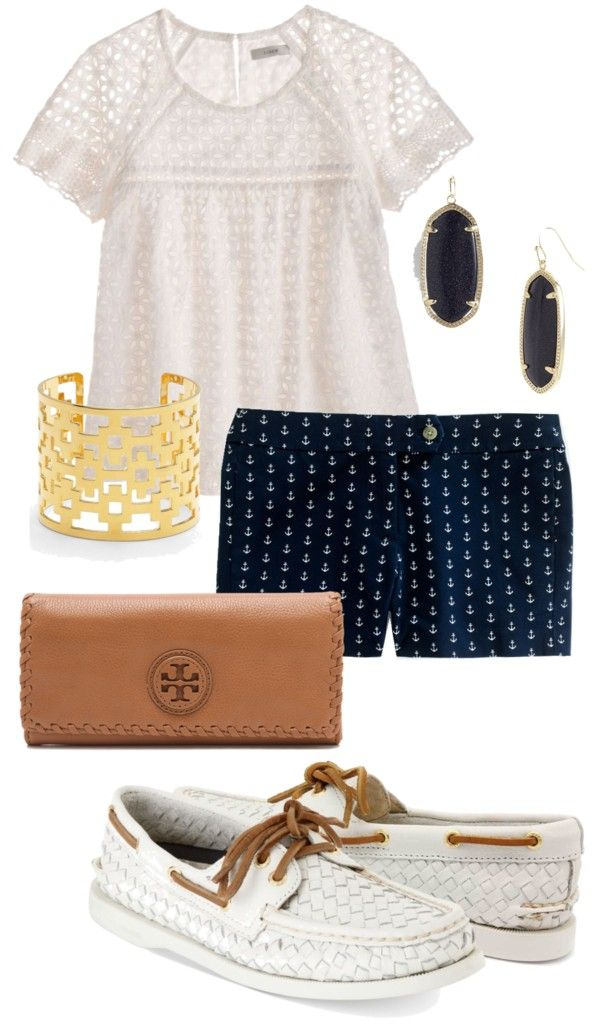 """Anchor Shorts"" by alexkay98 ❤ liked on Polyvore"